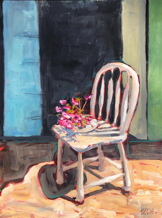 Original art for sale at UGallery.com | Chair with Azaleas by Elliot Coatney | $1,575 | acrylic painting | 40' h x 30' w | ..\art\acrylic-painting-Chair-with-Azaleas