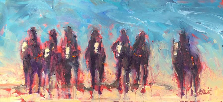 Original art for sale at UGallery.com | Cowboys on Horseback 10 by Elliot Coatney | $350 | acrylic painting | 11' h x 24' w | ..\art\acrylic-painting-Cowboys-on-Horseback-10
