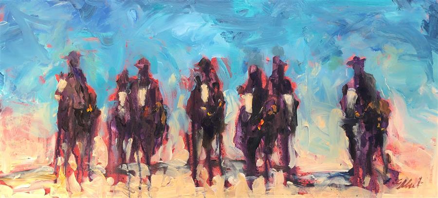 Original art for sale at UGallery.com   Cowboys on Horseback 11 by Elliot Coatney   $350   acrylic painting   11' h x 24' w   ..\art\acrylic-painting-Cowboys-on-Horseback-11