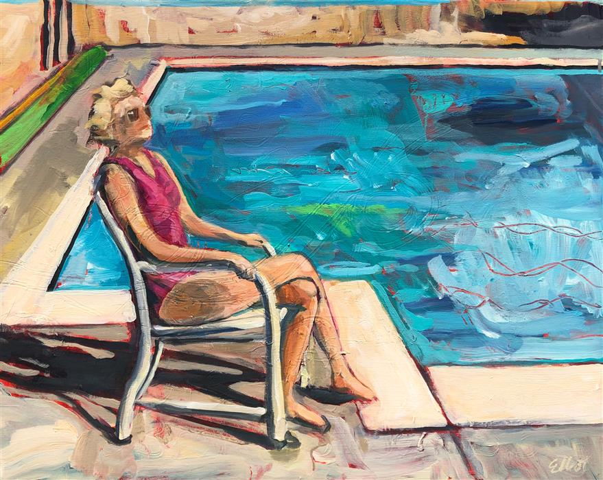 Original art for sale at UGallery.com | Seated Figure Poolside by Elliot Coatney | $925 | acrylic painting | 24' h x 30' w | ..\art\acrylic-painting-Seated-Figure-Poolside
