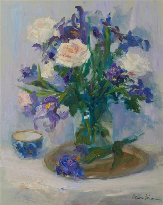 Original art for sale at UGallery.com | Irises and Roses by Oksana Johnson | $1,200 | oil painting | 20' h x 16' w | ..\art\oil-painting-Irises-and-Roses