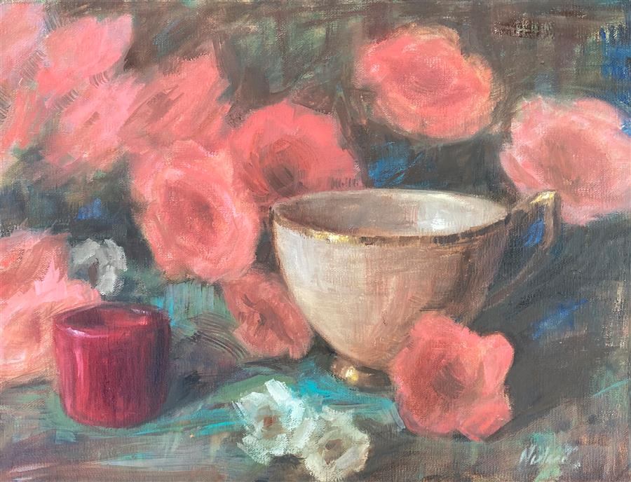 Original art for sale at UGallery.com | Red, Pink and Aqua by Lisa Nielsen | $525 | oil painting | 9' h x 12' w | ..\art\oil-painting-Red-Pink-and-Aqua