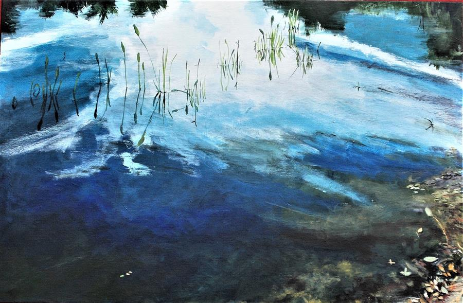Original art for sale at UGallery.com | Still Waters by Benjamin  Thomas | $1,975 | acrylic painting | 20' h x 30' w | ..\art\acrylic-painting-Still-Waters-69621