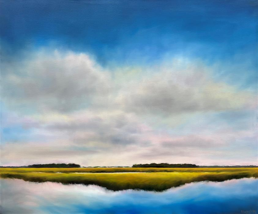 Original art for sale at UGallery.com | Quiet Marsh Clouds by Nancy Hughes Miller | $2,000 | oil painting | 30' h x 36' w | ..\art\oil-painting-Quiet-Marsh-Clouds