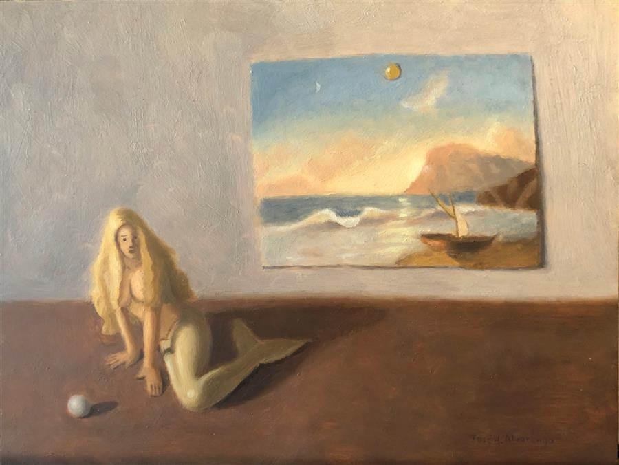 Original art for sale at UGallery.com | The Mermaid by Jose H. Alvarenga | $575 | oil painting | 9' h x 12' w | ..\art\oil-painting-The-Mermaid