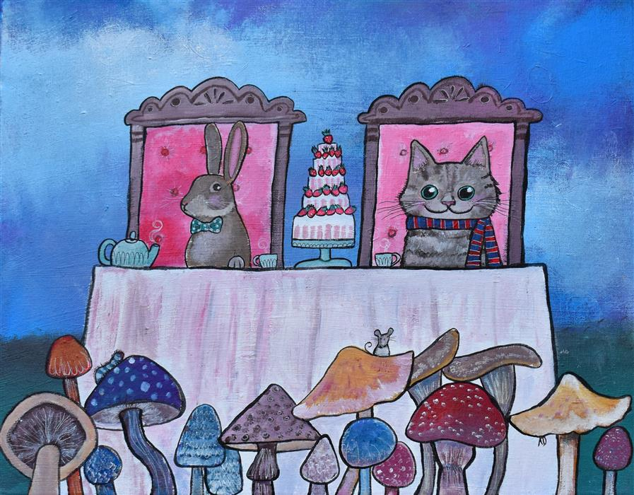 Original art for sale at UGallery.com | Toadstool Tea Party by Andrea Doss | $500 | acrylic painting | 16' h x 20' w | ..\art\acrylic-painting-Toadstool-Tea-Party