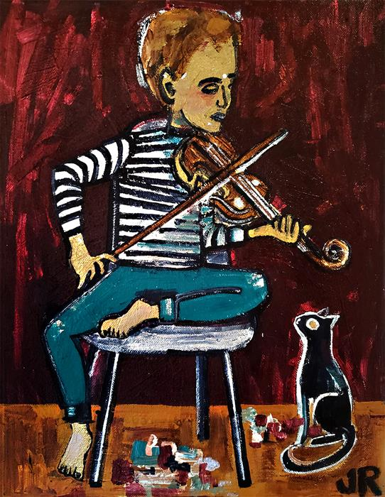 Original art for sale at UGallery.com | Boy Playing Violin by Jessica JH Roller | $675 | acrylic painting | 14' h x 11' w | ..\art\acrylic-painting-Boy-Playing-Violin