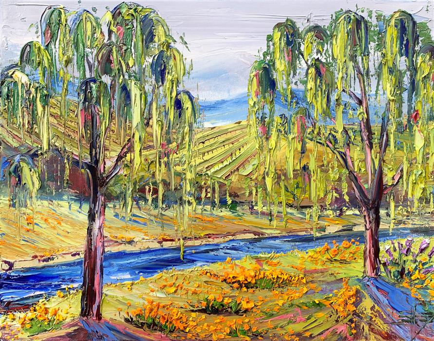 Original art for sale at UGallery.com | Napa Valley with Monet by Lisa Elley | $800 | oil painting | 14' h x 18' w | ..\art\oil-painting-Napa-Valley-with-Monet