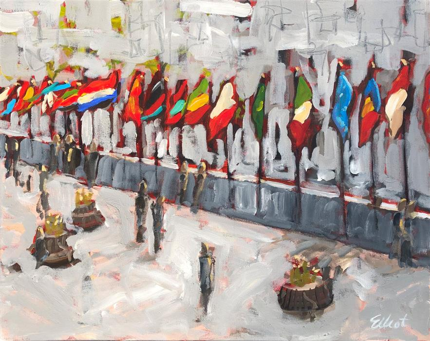 Original art for sale at UGallery.com | Flags at Rockefeller by Elliot Coatney | $925 | acrylic painting | 24' h x 30' w | ..\art\acrylic-painting-Flags-at-Rockefeller