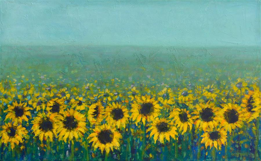 Original art for sale at UGallery.com | Sunflowers  by Sally Adams | $4,200 | acrylic painting | 30' h x 48' w | ..\art\acrylic-painting-Sunflowers-69655