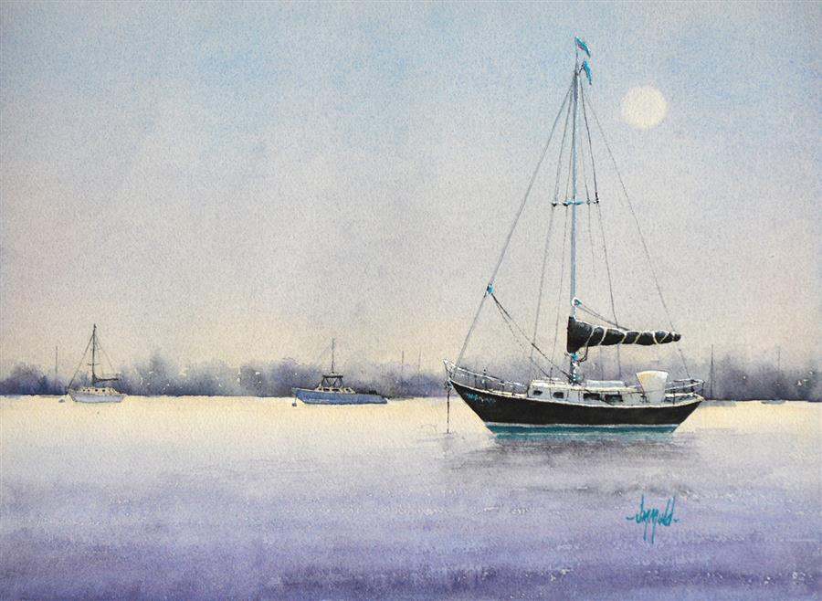 Original art for sale at UGallery.com | Moonglow Black Beauty by Judy Mudd | $800 | watercolor painting | 12' h x 16' w | ..\art\watercolor-painting-Moonglow-Black-Beauty