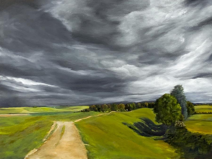 Original art for sale at UGallery.com | Avebury Henge II by Mandy Main | $3,200 | oil painting | 36' h x 48' w | ..\art\oil-painting-Avebury-Henge-II