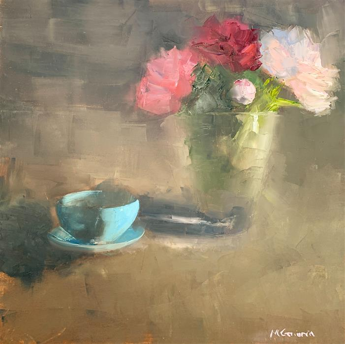 Original art for sale at UGallery.com | Spring Peonies with a Blue Cup by Mary Beth Gaiarin | $1,600 | oil painting | 30' h x 30' w | ..\art\oil-painting-Spring-Peonies-with-a-Blue-Cup