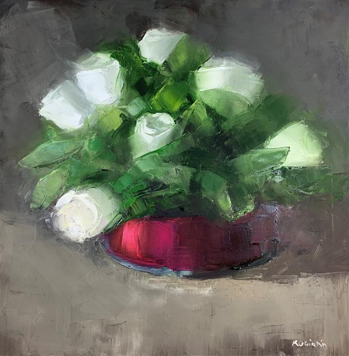 Original art for sale at UGallery.com | Roses in a Ribbon Wrapped Vase by Mary Beth Gaiarin | $1,000 | oil painting | 20' h x 20' w | ..\art\oil-painting-Roses-in-a-Ribbon-Wrapped-Vase
