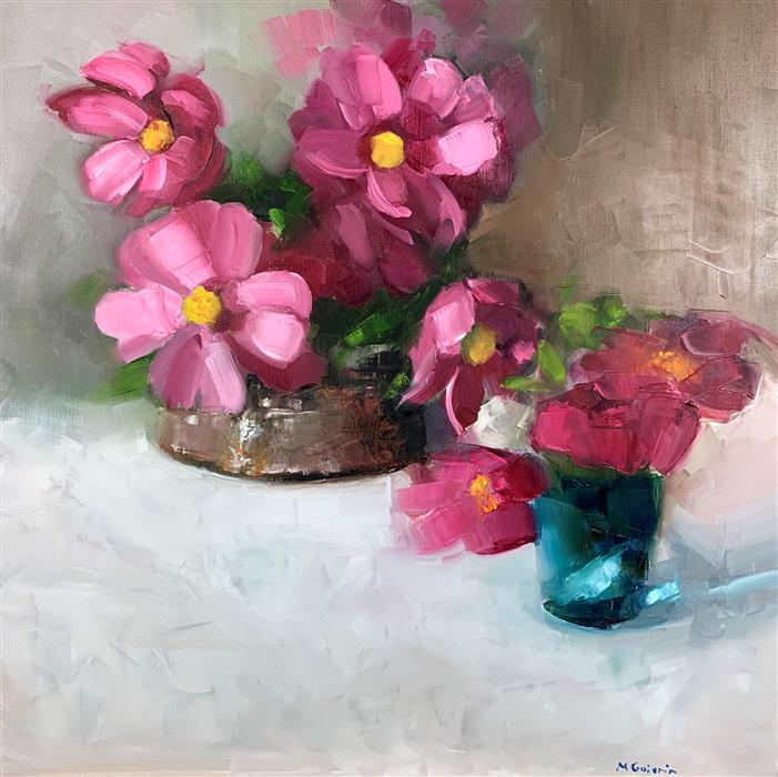 Original art for sale at UGallery.com | Peonies with a Blue Venetian Glass by Mary Beth Gaiarin | $1,075 | oil painting | 24' h x 24' w | ..\art\oil-painting-Peonies-with-a-Blue-Venetian-Glass