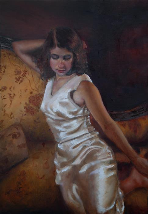 Original art for sale at UGallery.com | Woman in Satin by John Kelly | $2,800 | oil painting | 21.5' h x 15' w | ..\art\oil-painting-Woman-in-Satin