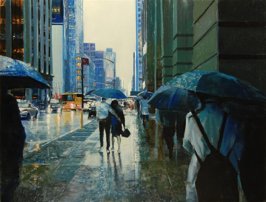 Original art for sale at UGallery.com | Please Share My Umbrella by Onelio Marrero | $1,125 | oil painting | 18' h x 24' w | ..\art\oil-painting-Please-Share-My-Umbrella