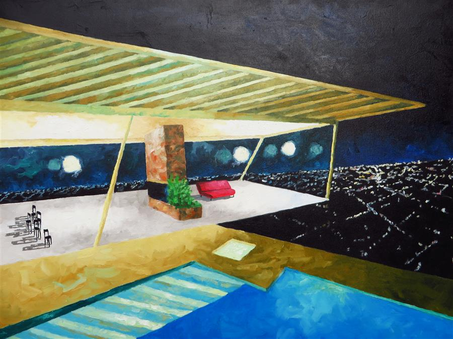 Original art for sale at UGallery.com | Stahl House Night by Mitchell Freifeld | $875 | oil painting | 30' h x 40' w | ..\art\oil-painting-Stahl-House-Night