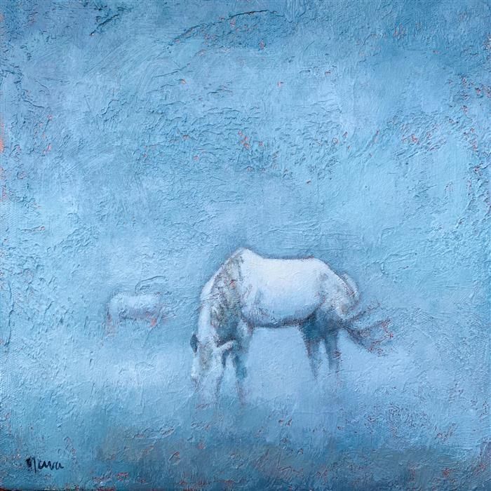 Original art for sale at UGallery.com | Dreaming of Wild Horses by Nava Lundy | $450 | acrylic painting | 12' h x 12' w | ..\art\acrylic-painting-Dreaming-of-Wild-Horses