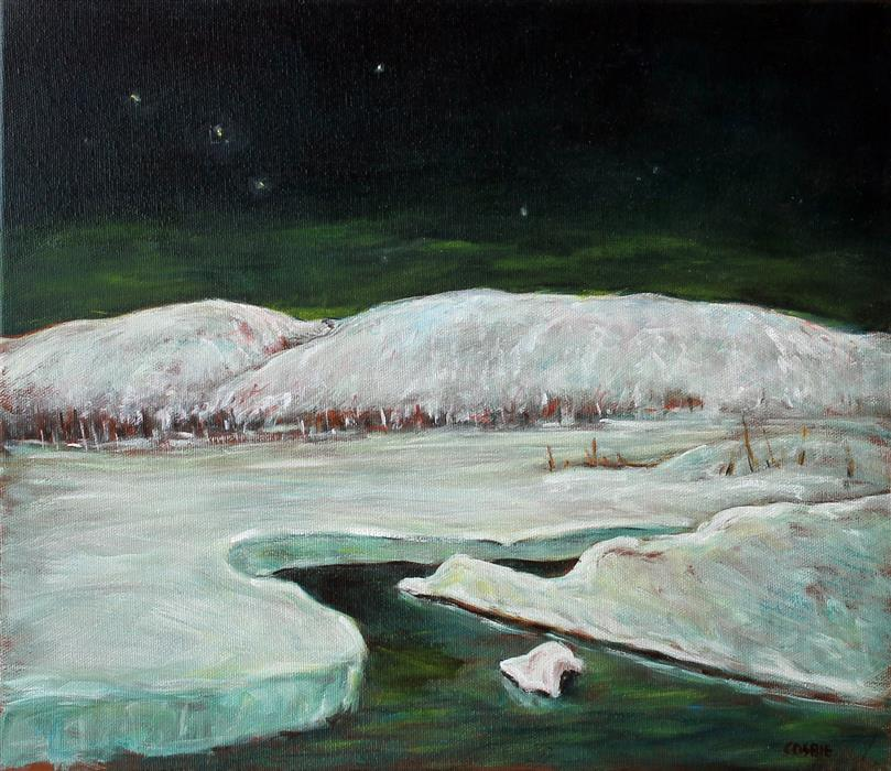Original art for sale at UGallery.com | Winter Moonlight, Poconos by Doug Cosbie | $375 | oil painting | 12' h x 14' w | ..\art\oil-painting-Winter-Moonlight-Poconos