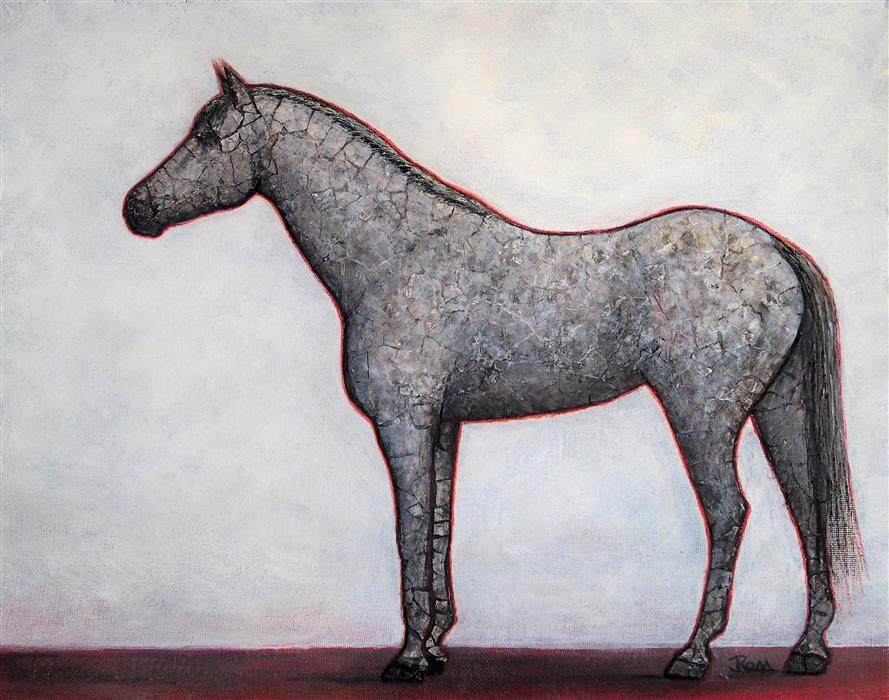 Original art for sale at UGallery.com | Horsepower by Jennifer Ross | $400 | mixed media artwork | 11' h x 14' w | ..\art\mixed-media-artwork-Horsepower-69695