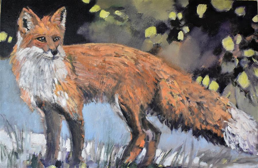 Original art for sale at UGallery.com | Foxy by Mary Pratt | $2,075 | oil painting | 24' h x 36' w | ..\art\oil-painting-Foxy