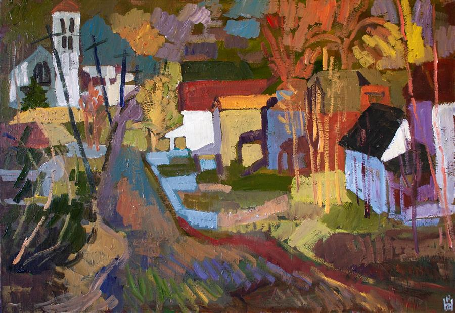 Original art for sale at UGallery.com   That Familiar Street by Robert Hofherr   $1,700   acrylic painting   24' h x 36' w   ..\art\acrylic-painting-That-Familiar-Street
