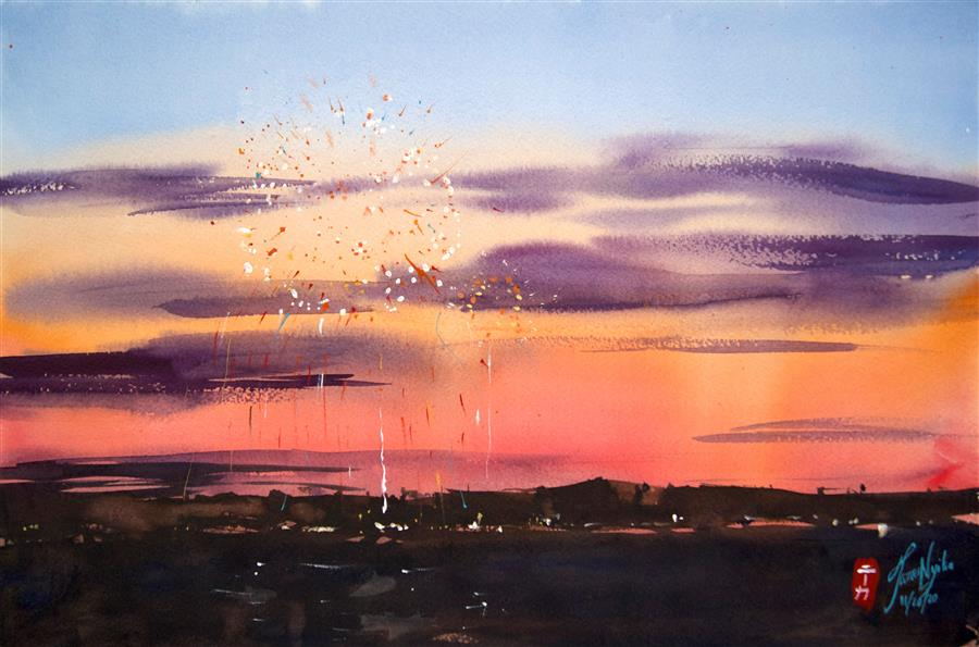 Original art for sale at UGallery.com | Harbor Fireworks by James Nyika | $600 | watercolor painting | 15' h x 22' w | ..\art\watercolor-painting-Harbor-Fireworks
