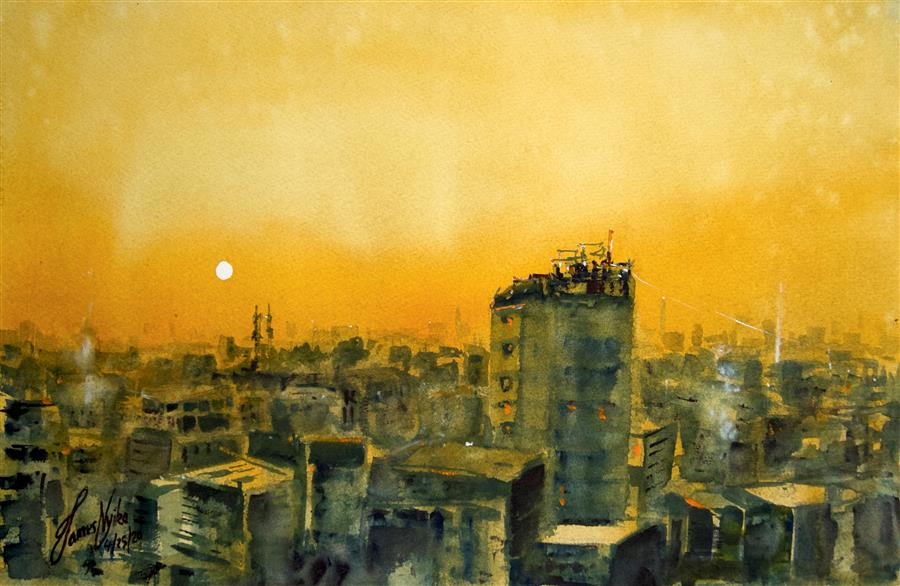 Original art for sale at UGallery.com | Sunset, Dhaka by James Nyika | $600 | watercolor painting | 14.75' h x 22.25' w | ..\art\watercolor-painting-Sunset-Dhaka