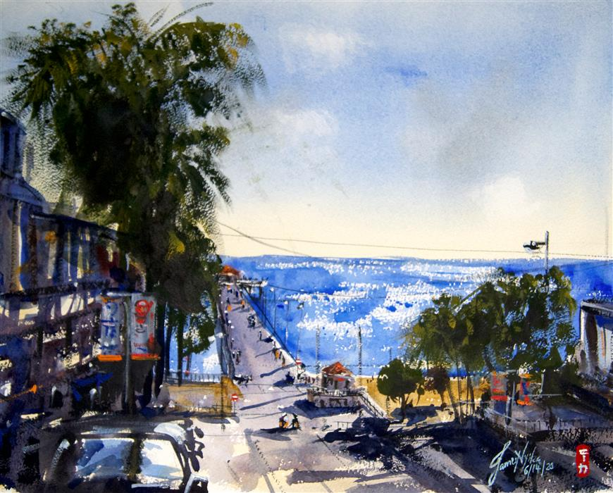 Original art for sale at UGallery.com   Manhattan Beach, California by James Nyika   $600   watercolor painting   16' h x 20' w   ..\art\watercolor-painting-Manhattan-Beach-California