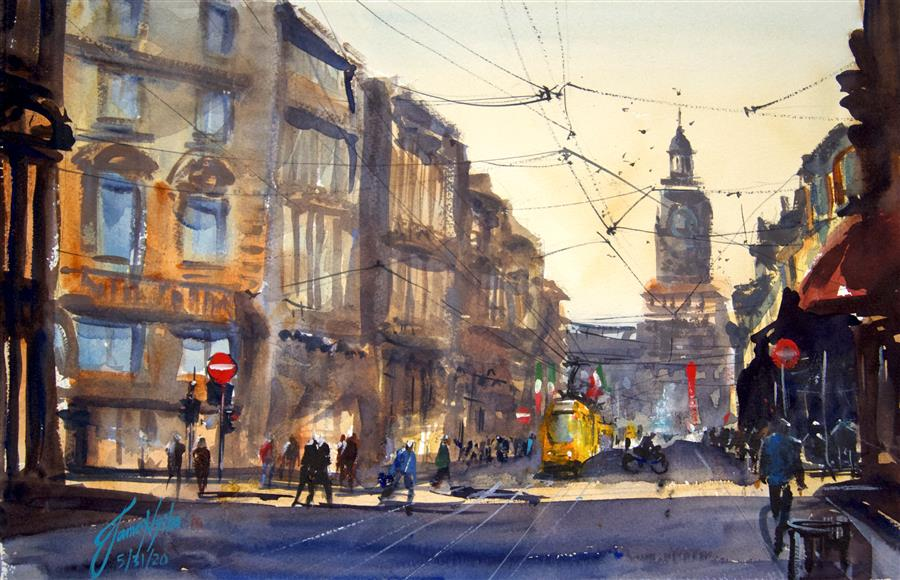 Original art for sale at UGallery.com | Milan I by James Nyika | $600 | watercolor painting | 15' h x 22' w | ..\art\watercolor-painting-Milan-I