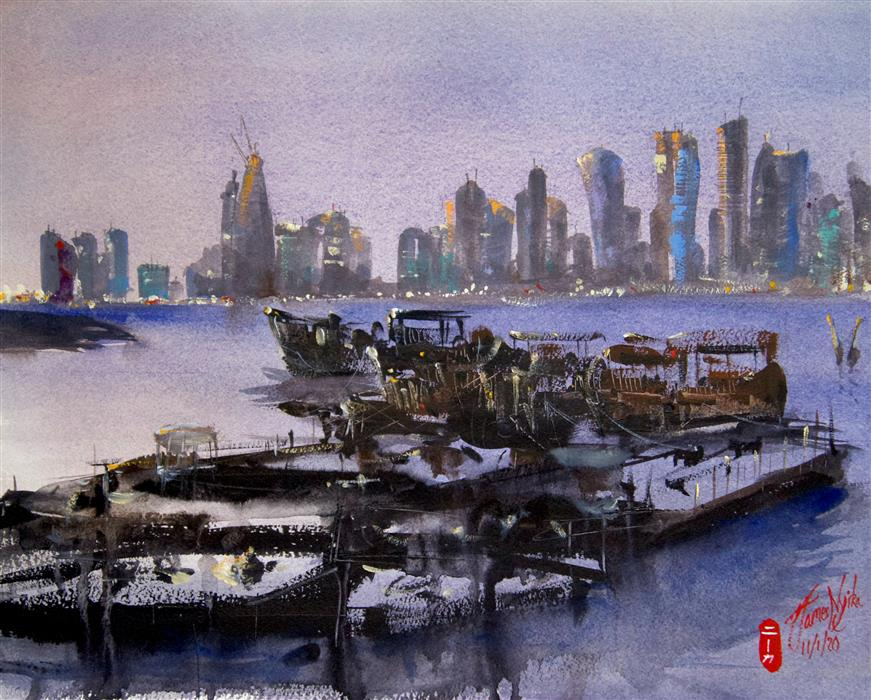 Original art for sale at UGallery.com | Harbor Boats, Doha by James Nyika | $600 | watercolor painting | 16' h x 20' w | ..\art\watercolor-painting-Harbor-Boats-Doha
