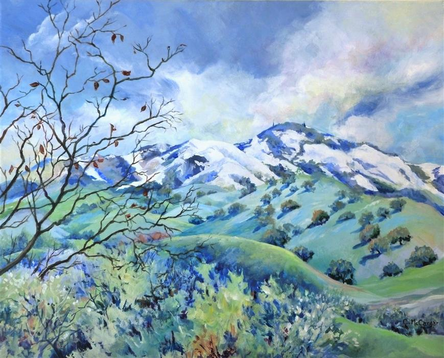 Original art for sale at UGallery.com | Snow Kissed Mt. Diablo by Catherine McCargar | $1,375 | acrylic painting | 18' h x 24' w | ..\art\acrylic-painting-Snow-Kissed-Mt-Diablo