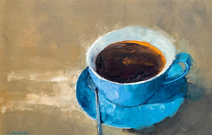 Original art for sale at UGallery.com | Big Blue Cup by Mary Beth Gaiarin | $1,900 | oil painting | 24' h x 36' w | ..\art\oil-painting-Big-Blue-Cup