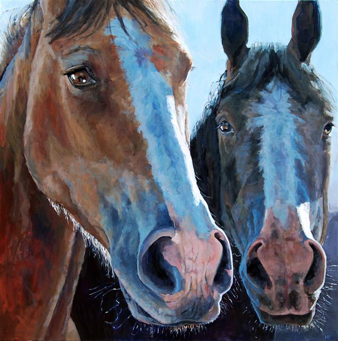 Original art for sale at UGallery.com | Hey Friend, Why the Long Face? by Heather Foster | $3,300 | acrylic painting | 36' h x 36' w | ..\art\acrylic-painting-Hey-Friend-Why-the-Long-Face