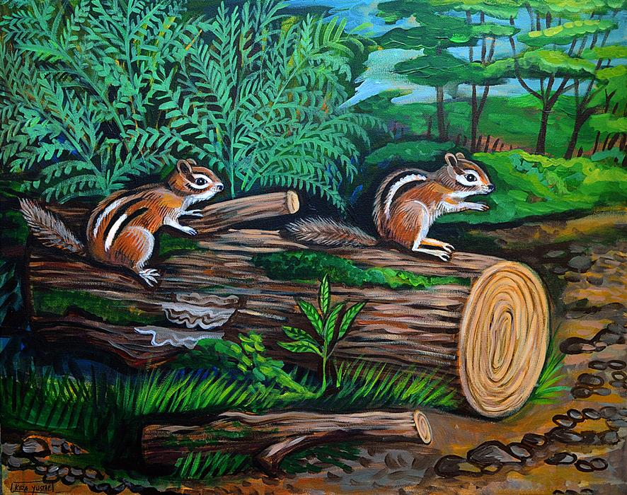 Original art for sale at UGallery.com | Chipmunks by Kira Yustak | $975 | acrylic painting | 22' h x 28' w | ..\art\acrylic-painting-Chipmunks