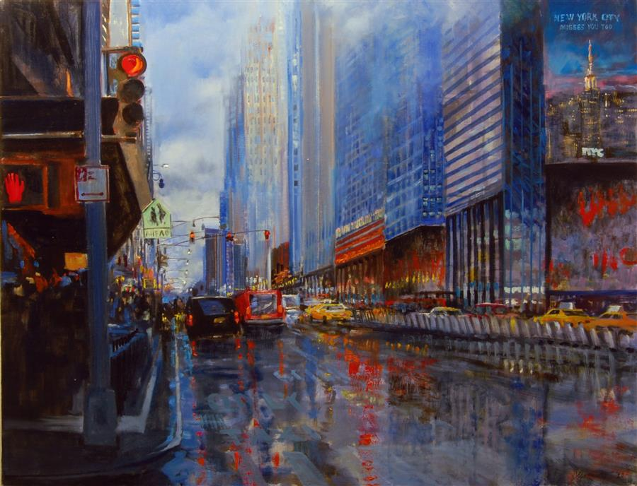 Original art for sale at UGallery.com | New York Misses You Too by Onelio Marrero | $1,975 | oil painting | 24' h x 30' w | ..\art\oil-painting-New-York-Misses-You-Too