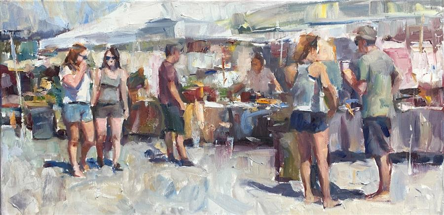 Original art for sale at UGallery.com | French Market by Jerry Salinas | $825 | oil painting | 12' h x 24' w | ..\art\oil-painting-French-Market