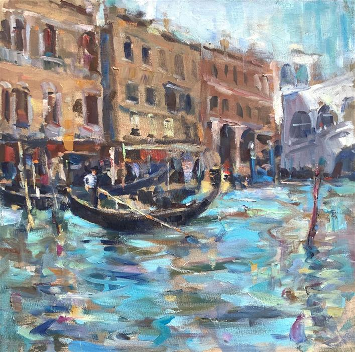 Original art for sale at UGallery.com   Gondola by Jerry Salinas   $850   oil painting   18' h x 18' w   ..\art\oil-painting-Gondola-69778