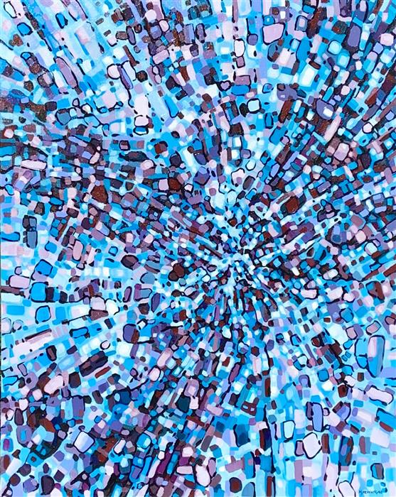 Original art for sale at UGallery.com | Fragmentation - Falling In by Marie-Eve Champagne | $1,275 | acrylic painting | 40' h x 30' w | ..\art\acrylic-painting-Fragmentation-Falling-In