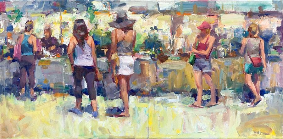 Original art for sale at UGallery.com | Sunny Market by Jerry Salinas | $850 | oil painting | 12' h x 24' w | ..\art\oil-painting-Sunny-Market