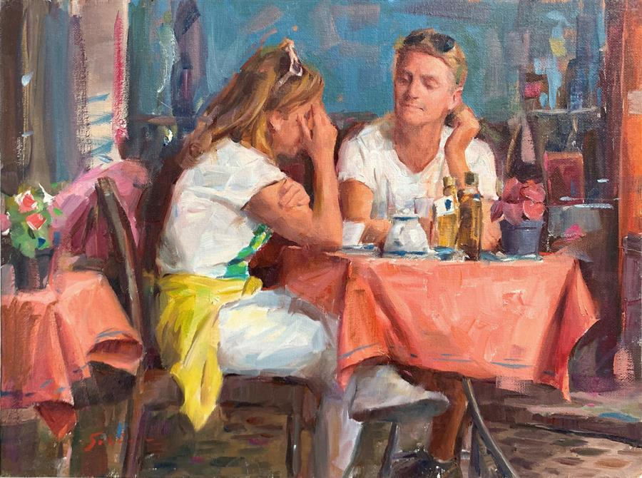 Original art for sale at UGallery.com | Roman Cafe by Jerry Salinas | $725 | oil painting | 12' h x 16' w | ..\art\oil-painting-Roman-Cafe-69788