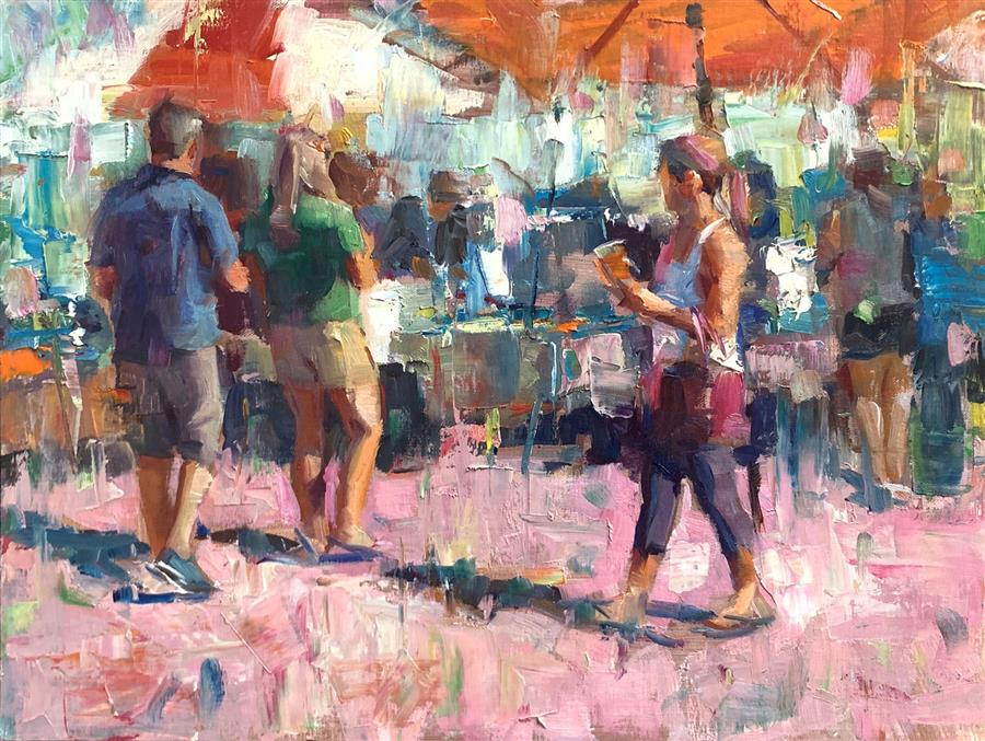 Original art for sale at UGallery.com | Saturday by Jerry Salinas | $575 | oil painting | 12' h x 16' w | ..\art\oil-painting-Saturday