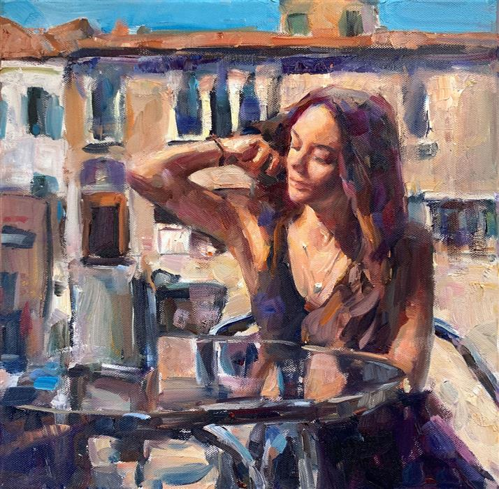 Original art for sale at UGallery.com | Venice Beauty by Jerry Salinas | $600 | oil painting | 14' h x 14' w | ..\art\oil-painting-Venice-Beauty
