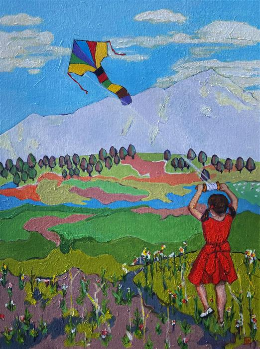 Original art for sale at UGallery.com | Girl Flying a Kite by Laura (Yi Zhen) Chen | $750 | acrylic painting | 24' h x 18' w | ..\art\acrylic-painting-Girl-Flying-a-Kite