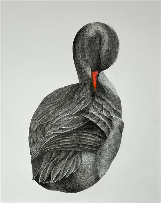 Original art for sale at UGallery.com | Friends for a Sobering Time 06 Duck by Ziui Vance | $1,350 | ink artwork | 24' h x 18' w | ..\art\ink-artwork-Friends-for-a-Sobering-Time-06-Duck