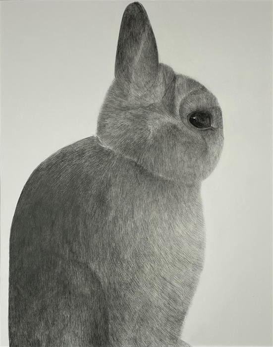 Original art for sale at UGallery.com | Friends for a Sobering Time 05 Bunny by Ziui Vance | $1,350 | ink artwork | 24' h x 18' w | ..\art\ink-artwork-Friends-for-a-Sobering-Time-05-Bunny