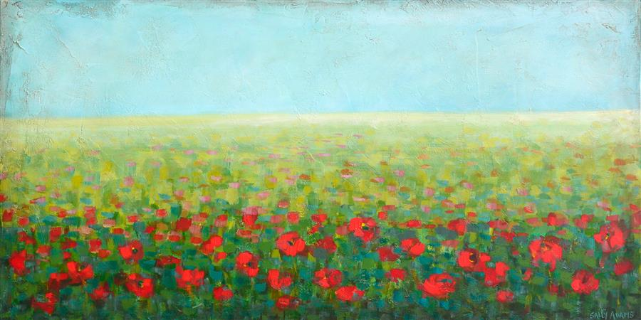 Original art for sale at UGallery.com | Alluring Poppies by Sally Adams | $3,450 | acrylic painting | 24' h x 48' w | ..\art\acrylic-painting-Alluring-Poppies