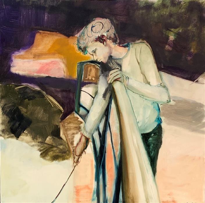 Original art for sale at UGallery.com | Boy on the Bridge by Liz Brozell | $2,000 | oil painting | 30' h x 30' w | ..\art\oil-painting-Boy-on-the-Bridge
