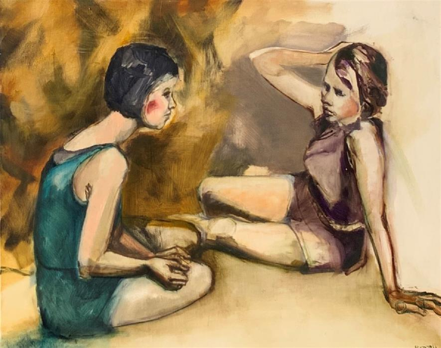 Original art for sale at UGallery.com | Girl Talk by Liz Brozell | $1,825 | oil painting | 24' h x 30' w | ..\art\oil-painting-Girl-Talk